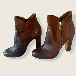 Vince Camuto Leather and Suede Bootie Brown Sz 8.5